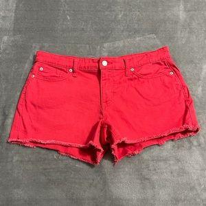 GAP Sexy Boyfriend Raw Hem Red Jean Shorts!
